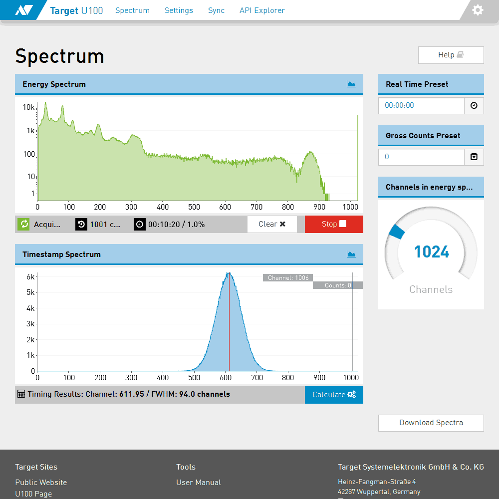 Web interface with spectrum page...